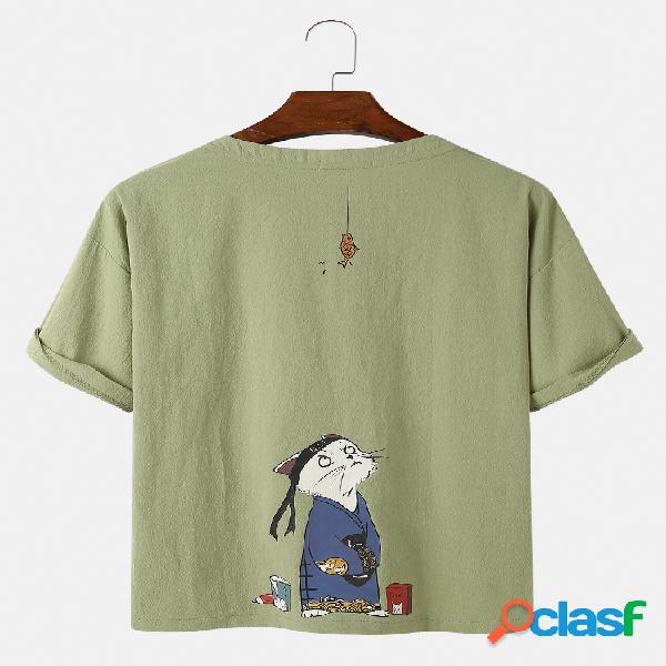 Dibujos animados para hombre gato imprimir color sólido suelto fino redondo cuello camisetas casuales