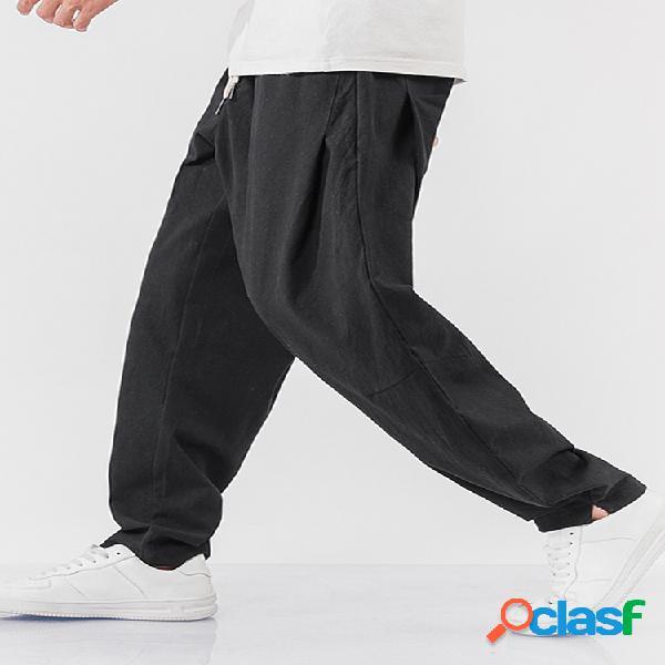 Jogger deportivo 100% algodón con cintura elástica y cordón transpirable para hombre pantalones