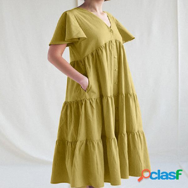 Color sólido cuello en v bolsillos laterales manga corta plisado midi vestido