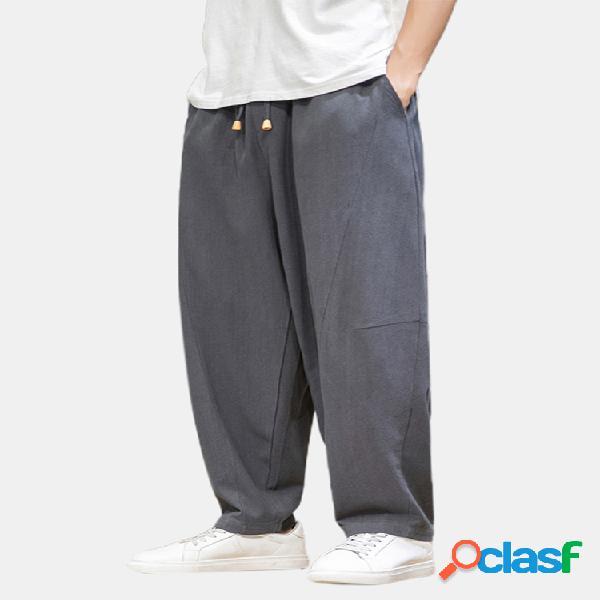 Color sólido para hombre de lino casual cintura elástica cordón harem pantalones