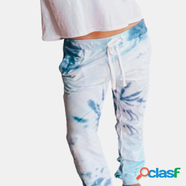 Cordón de cintura elástica con efecto tie-dye casual pantalones para mujer