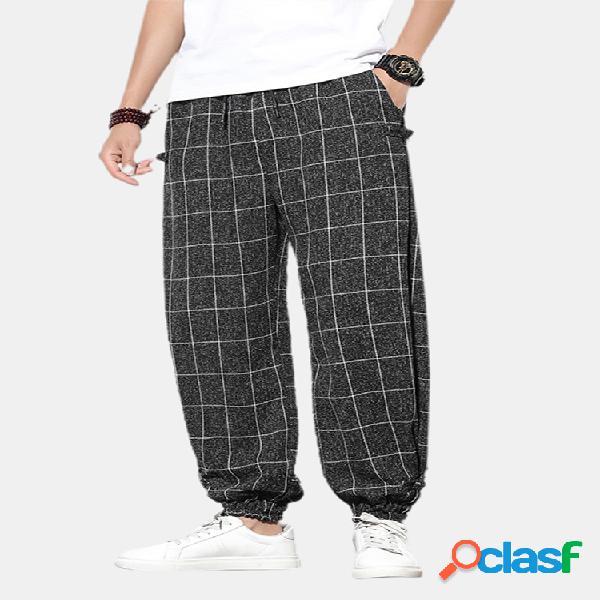 Hebilla de estampado a cuadros para hombre casual cintura elástica cordón viga pies pantalones