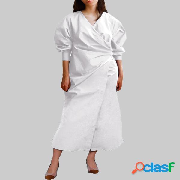 Color sólido escote en v cremallera en la espalda manga larga abullonada plisada vestido