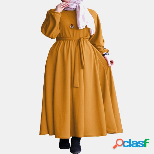 Color sólido lazo cintura manga larga casual maxi vestido para mujer