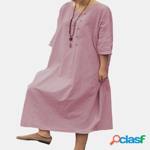 Color sólido medias mangas cuello asimétrico casual botón vestido