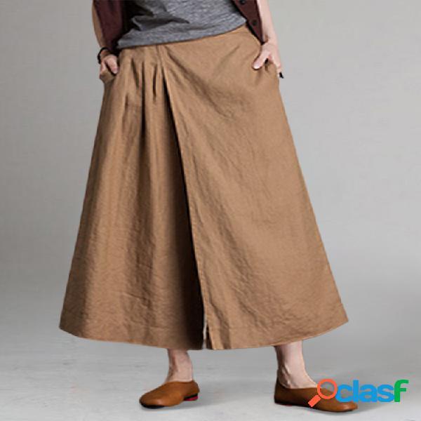 Patchwork de cintura elástica de color sólido suelto pantalones para mujer