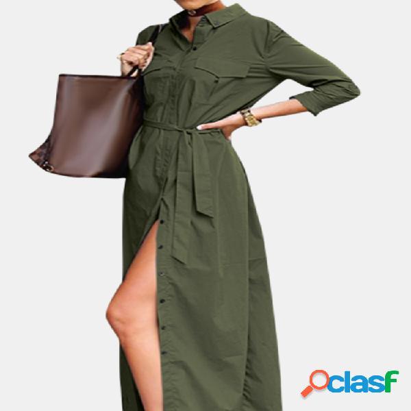 Color sólido abertura lateral casual manga larga camisa vestido