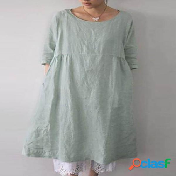 Color sólido manga suelta 3/4 algodón plus tamaño vestido con bolsillos