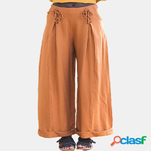 Color sólido vendaje pierna ancha casual pantalones para mujer