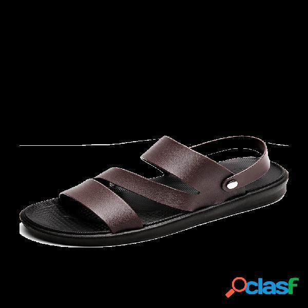 Hombre pure color correa de talón ajustable zapatillas casual playa sandalias