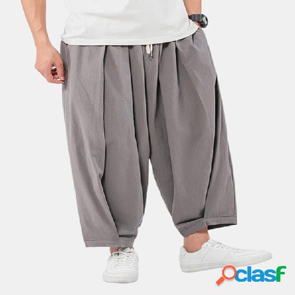 Hombre lino liso color sólido suelto transpirable pantalones