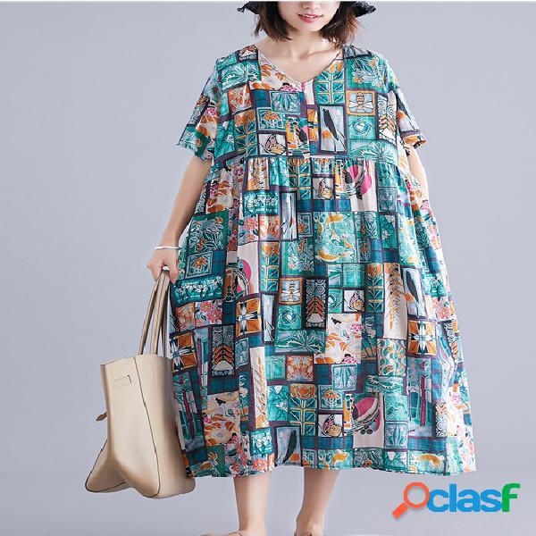 Verano estampado con cuello en v arte plus tamaño cintura vendimia vestido
