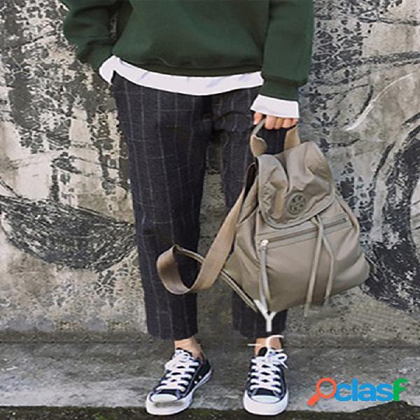 Cintura elástica suelta a cuadros plus tamaño pantalones con bolsillos