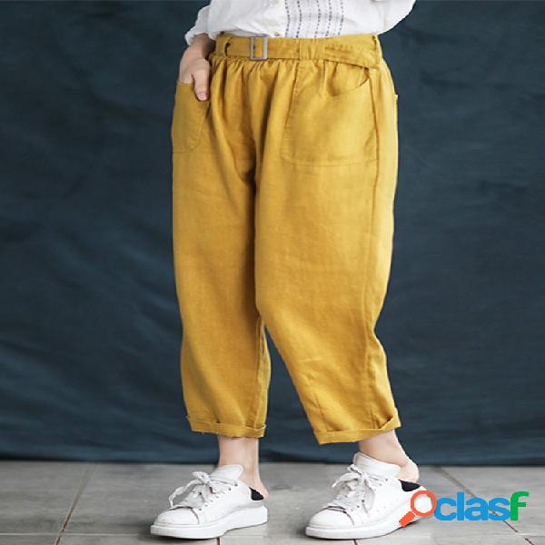 Cintura elástica con cinturón de color sólido plus tamaño harem pantalones