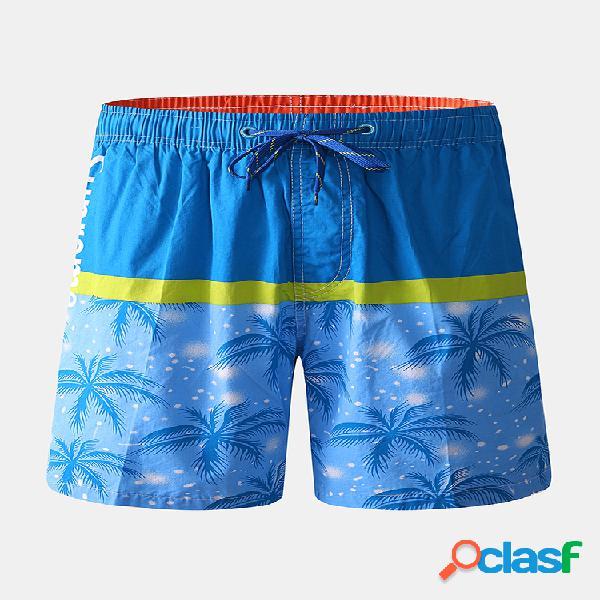 Mens color block tropical planta pantalones cortos estampados con cordón de secado rápido playa tronco
