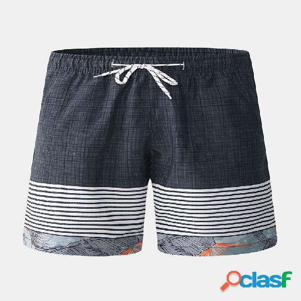 Pantalones cortos de tela escocesa de retazos a cuadros para hombre pantalones de vacaciones de secado rápido con cordón playa