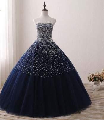 Vestido Xv Años Azul Oscuro Envió Gratis Q 180904006 En